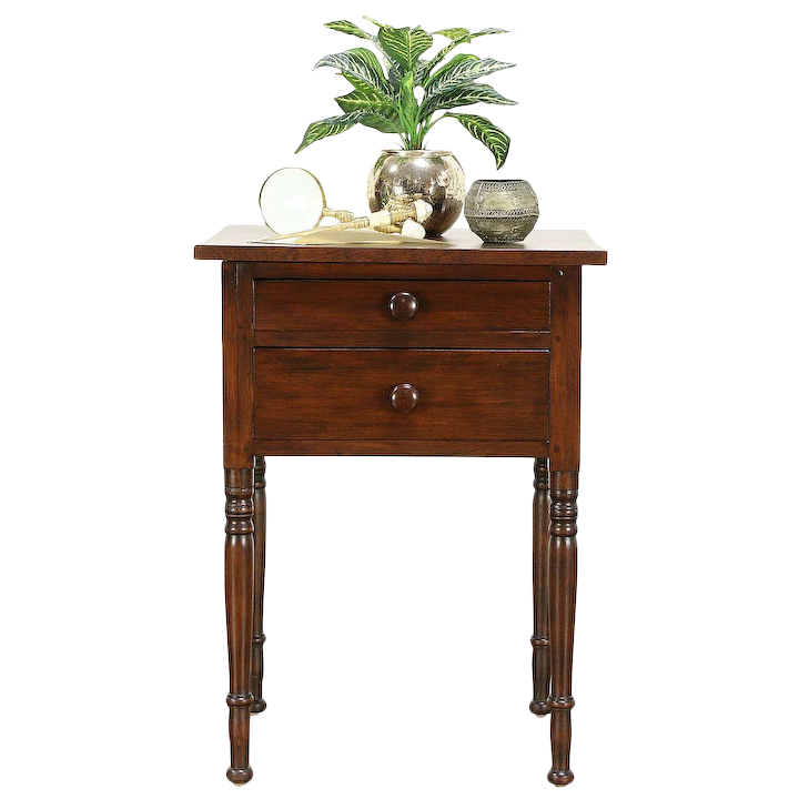 Victorian End Table Victorian Flame Birch 1850 Antique 2 Drawer Nightstand or End Table : Harp  Gallery Antique Furniture | Ruby Lane