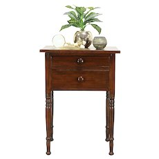 Victorian Flame Birch 1850 Antique 2 Drawer Nightstand or End Table #30277