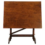 Oak Swivel Adjustable Drafting Table, Artist Desk, Island or Wine Table #30282