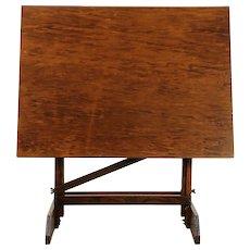 Oak Swivel Adjustable Drafting Table, Artist Desk, Island or Wine Table #30282
