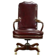 Leather Vintage Swivel Adjustable Desk Chair, North Hickory  #30283