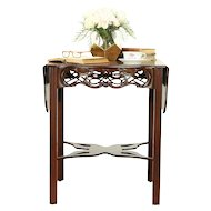 Dropleaf Mahogany Carved Lamp Table, Baker Charleston Collection #30284