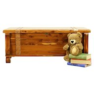 Cedar Vintage Trunk, Blanket Chest or Coffee Table, Copper Banding #30285