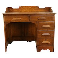 Victorian Antique 1890 Oak Schoolmaster Desk, Raised Panels, Gallery  #30287