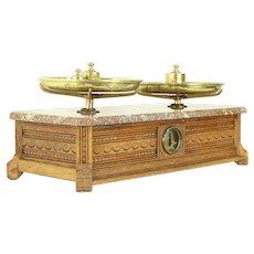 Victorian Eastlake Antique Pharmacy Drug Apothecary Scale, Oak & Marble #30288