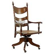 Victorian Antique Oak Swivel Adjustable Desk Chair, Pressback Carved #30290