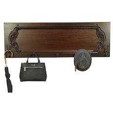 Mahogany Carved Hanging Coat or Hat Hall Rack, Antique Piano Salvage #30295