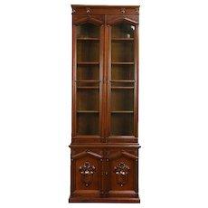Victorian Antique 1870 Walnut & Burl Tall Bookcase, Wavy Glass Doors #30304