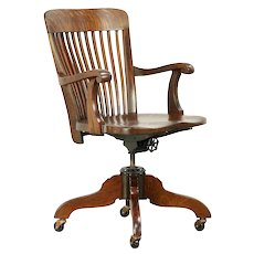 Oak Quarter Sawn Antique Swivel Adjustable Office Desk Chair #30307