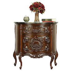 French Style Carved Demilune Half Round Hall Console, Black Marble #30309