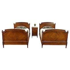 Walnut Antique Louis XVI Style Bedroom Set, 2 Twin Beds, Nightstand #30312