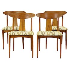 Set of 4 Midcentury Modern 1960 Vintage Dining Chairs, New Upholstery  #30319