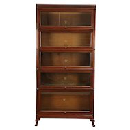 Lawyer 5 Stack Antique Mahogany Library or Office Bookcase, Macey #30323