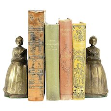 Pair Antique Serving Girl Cast Iron Bookends, Bronze Finish #30333
