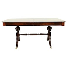 Traditional Mahogany Vintage Dining Table, 2 Leaves, 2 Pedestals #30334