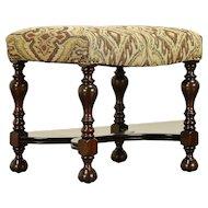 English Tudor Antique 1920 Walnut Stool or Bench, New Upholstery #30338