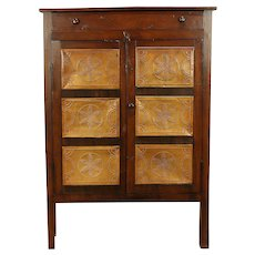 Walnut Antique Farmhouse Kitchen Pantry Cupboard Pie Safe, Punched Tin #30342