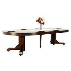 "Arts & Crafts Mission Oak 56"" Round Craftsman Antique Dining Table, 10'7"" #30344"