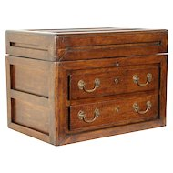 Fruitwood Antique Jewelry or Tool Chest, Collector Cabinet #30347
