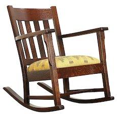 Arts & Crafts Mission Oak Antique Rocker, Tall Craftsman Rocking Chair #30354