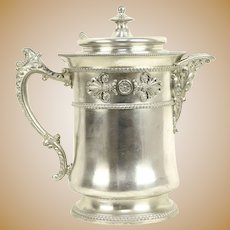 Victorian Antique Silverplate Water Pitcher, Pat. 1868, Meriden, CT #30373