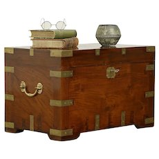 Rosewood Vintage Thai Treasure Chest or Trunk, Brass Mounts #30376