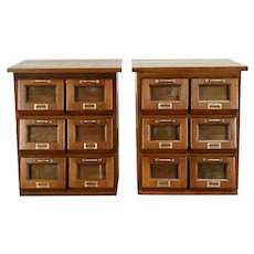 Pair of  Antique Country Store Oak Seed Counter Display End Tables #30378