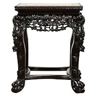 Chinese Antique Carved Rosewood Table or Pedestal, Rose Marble #30388