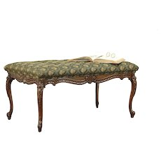 Carved Walnut Antique Bench, Recent Upholstery #30395