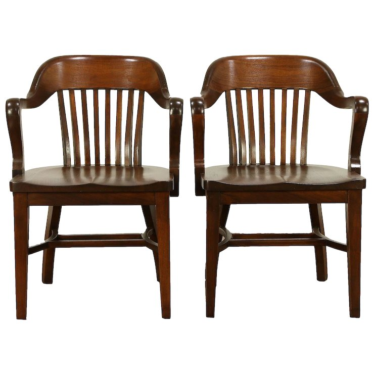 Pair of Walnut Antique Banker, Library or Office Chairs A #30411 : Harp  Gallery Antique Furniture | Ruby Lane - Pair Of Walnut Antique Banker, Library Or Office Chairs A #30411
