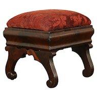 Empire Antique 1840 Mahogany Footstool, New Upholstery #30414