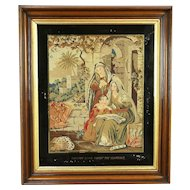 Saint Timothy Antique Needle Point & Petit Point Tapestry, Walnut Frame #30415