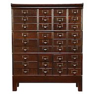 Oak Antique 1900 Stacking 36 Drawer Collector File Cabinet, Made by Globe #30420