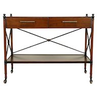 Bar Cart, Beverage or Dessert Trolley Server, Vintage Pecan, Tomlinson #30422