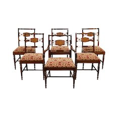 Set of 6 Sheraton Style Vintage Mahogany Dining Chairs, Recent Upholstery #30423