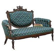 Victorian Renaissance Antique 1870 Walnut Loveseat, Recent Upholstery #30427