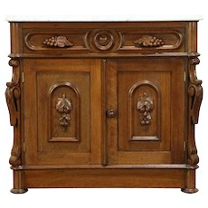 Victorian Antique Walnut Chest or Commode, Carved Grapes, Marble Top  #30442