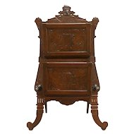 Victorian Antique Walnut Music Caddy or Magazine Rack, Carved Lyre #30444