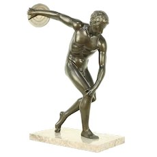 Disk Thrower Sculpture, Marble Base, after Classical Greek Original #30447