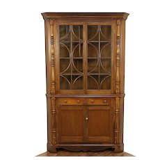 Ohio Antique Cabinet, Walnut Corner Cupboard #30456