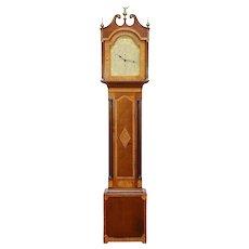 Cherry & Maple Tall Case Antique Grandfather Clock, Quartz, Whiting CT #30459