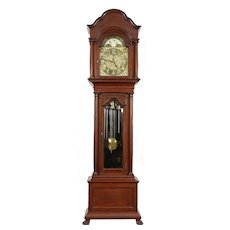 Herschede Antique Mahogany Grandfather Long Case Clock, 9 Tube Chime #30460