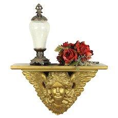 Angel Shelf, Victorian Antique Hand Carved Sculpture, Signed #30462