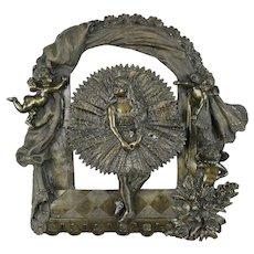 Bronze Antique 1880 Ballerina Sculpture of Ballet Dancer, Cherubs & Stage #30464