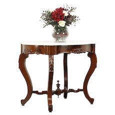 Victorian Antique Carved Mahogany Marble Turtle Top Lamp or Hall Table #30469