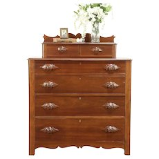 Victorian Antique 1860's Cherry Chest or Dresser, Carved Pulls #30476