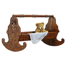 Italian Antique Hand Carved Walnut Rocking Baby Cradle Bed #30479