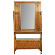 Arts & Crafts Mission Oak Antique Craftsman Hall Stand & Mirror #30484