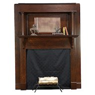 Oak Antique Architectural Salvage Fireplace Mantel & Mirror, Columns #30487