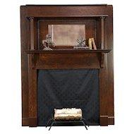 Oak Antique Architectural Salvage Fireplace Mantel & Mirror, Columns #30487